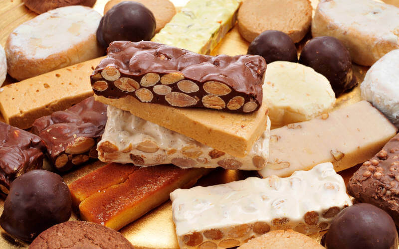 turron, polvorones and mantecados, typical christmas confections in Spain