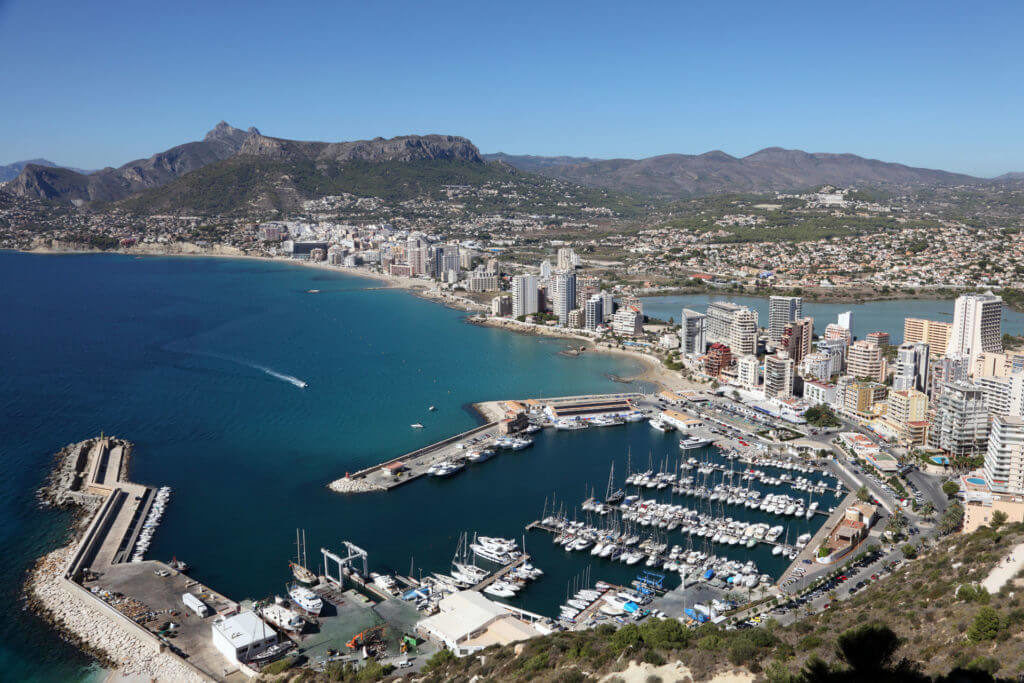Alicante from above - View of the beaches and buildings
