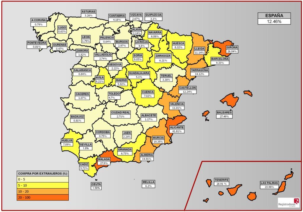 Map of foreign property buyers in Spain