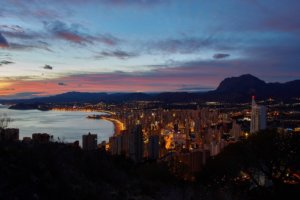 Sunset over Benidorm coast