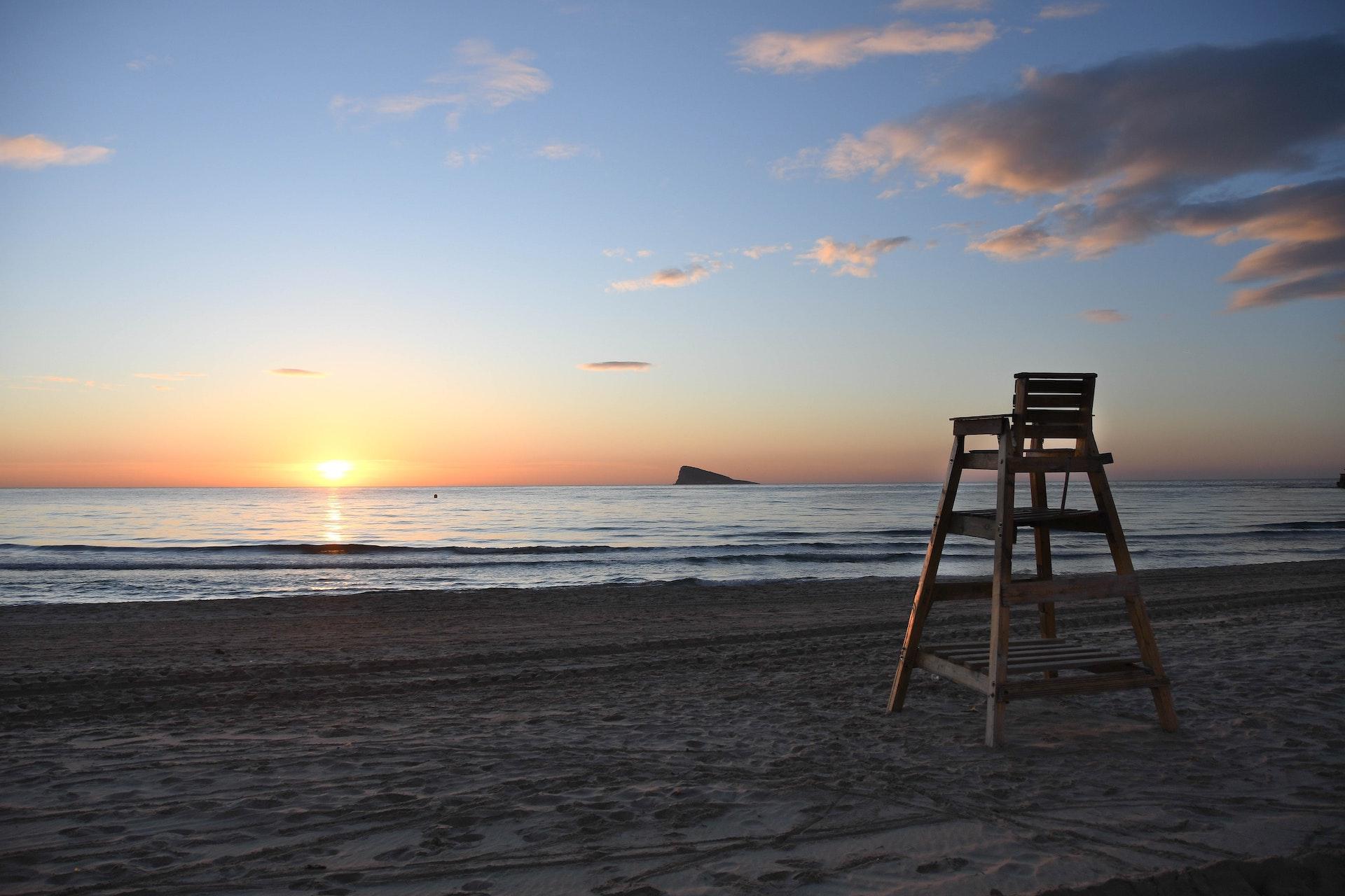 Beach sunset scene in Benidorm
