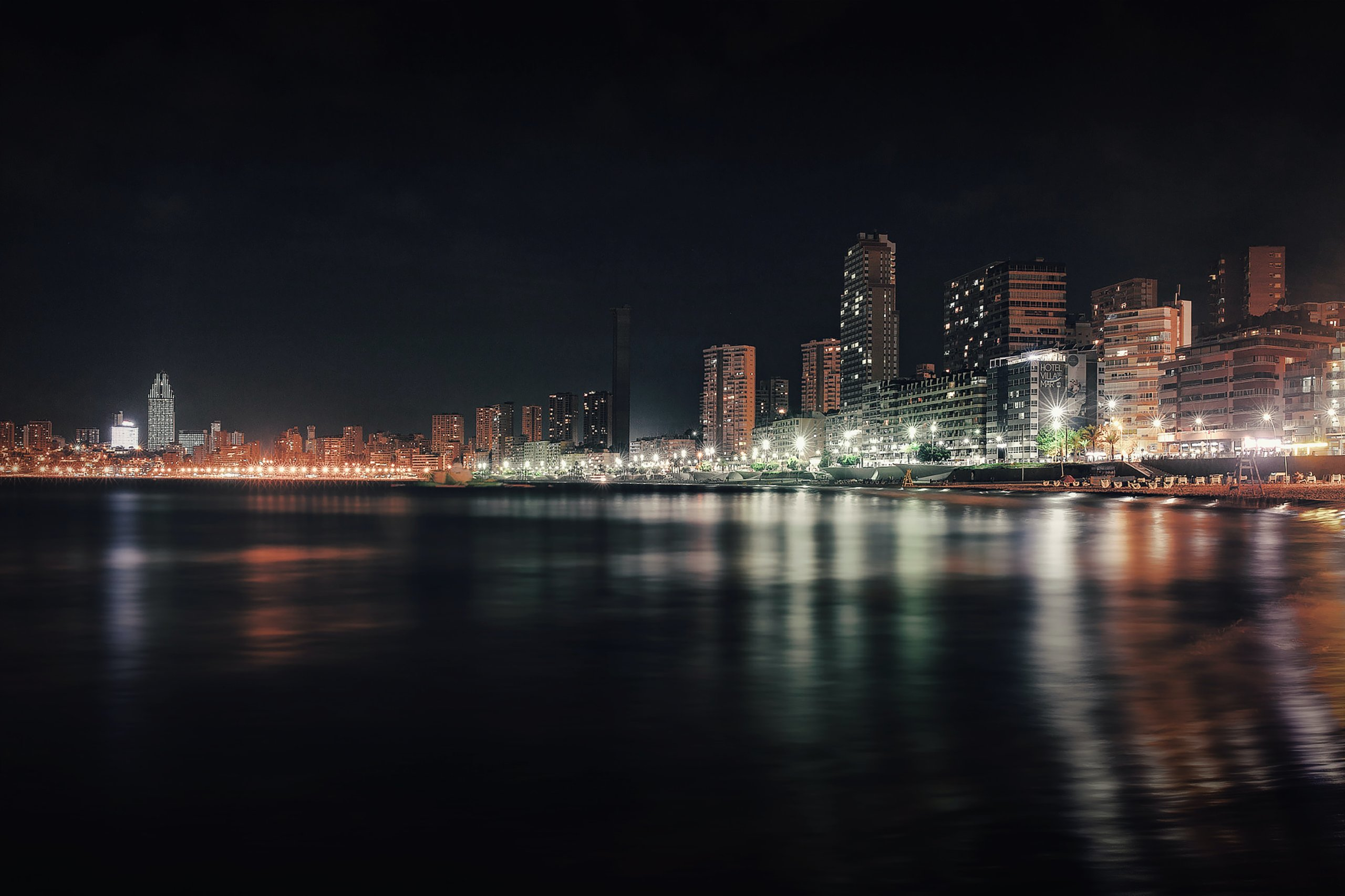Benidorm coastline at night