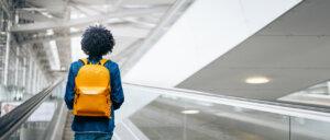 EasyJet passenger with rucksack