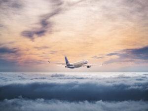 SAS aircraft above clouds